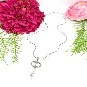 VINTAGE⚜️STERLING SILVER Pavé Love Key Necklace